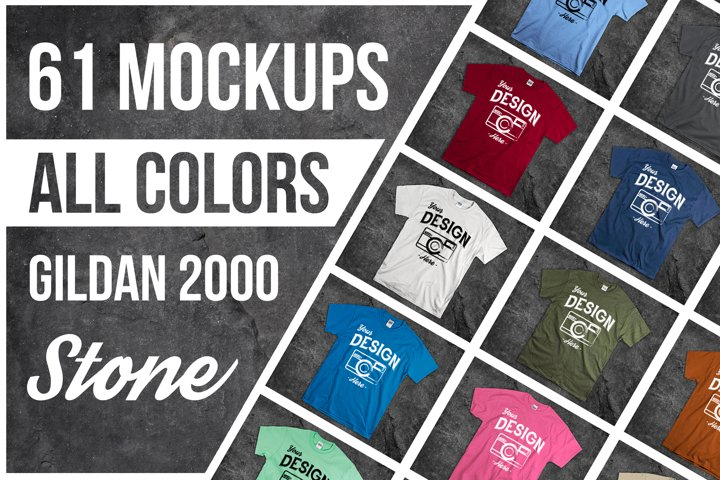 Stone Background T Shirt Mockup Bundle 61 Colors On Rock