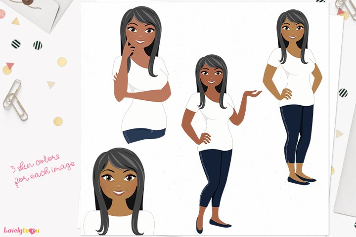 Simple woman character clip art L551 Bonita