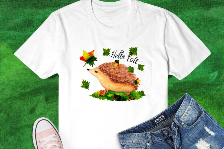 Hedgehog in Autumn Time Watercolor Sublimation Design