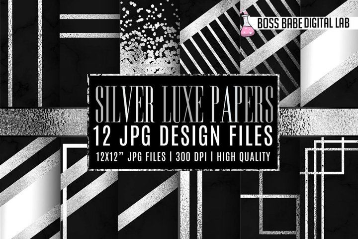 Silver Luxe Black marble digital paper