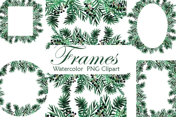 Frames Clipart. Christmas watercolor. Winter frames PNG.