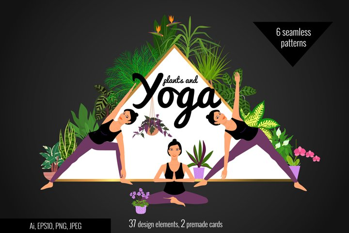 Plants and Yoga clipart