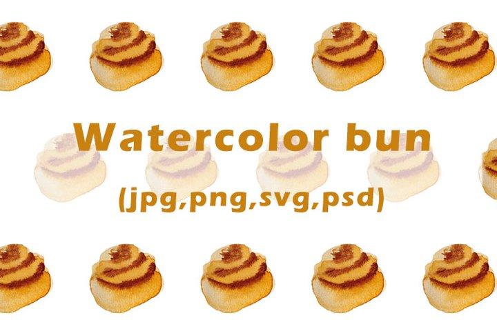 Watercolor bun pattern