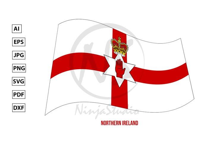 Northern Ireland Flag Waving. Countries of United Kingdom