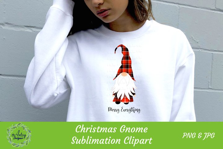 Merry Everything Gnome Red Buffalo Plaid Sublimation ClipArt