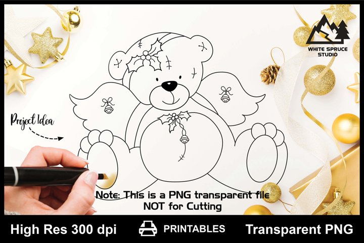 Christmas Angel Bear with Holly & Bells Printable Line Art
