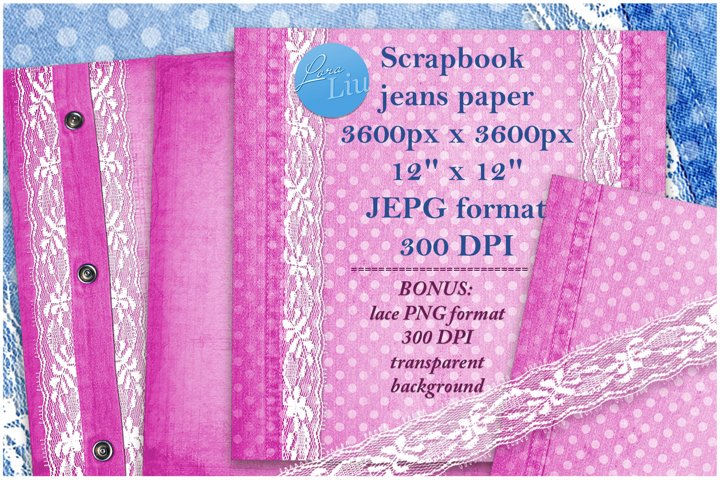 Pink set jeans paper with lace