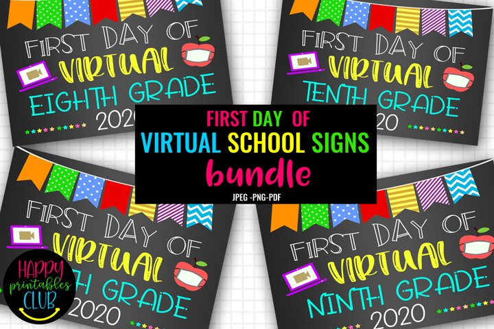 First Day of Virtual School Signs Bundle- First Day School
