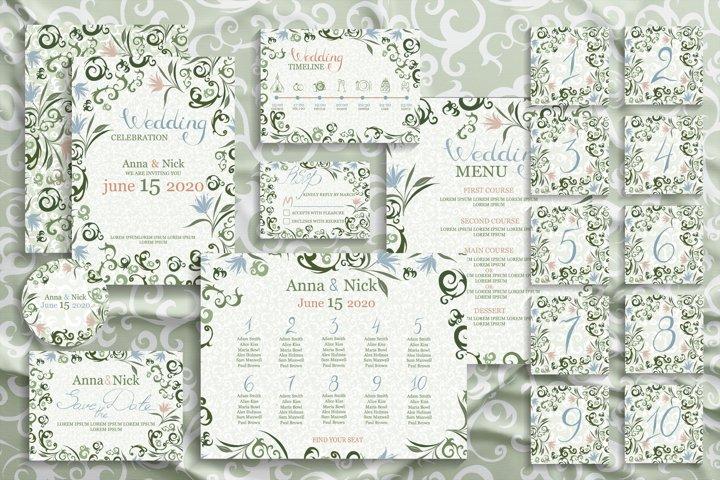 Green Wedding Invitation Cards Templates