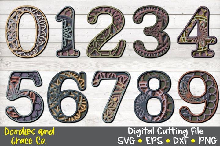 3D Layered Number Mandala Bundle - SVG - PNG - EPS - DXF