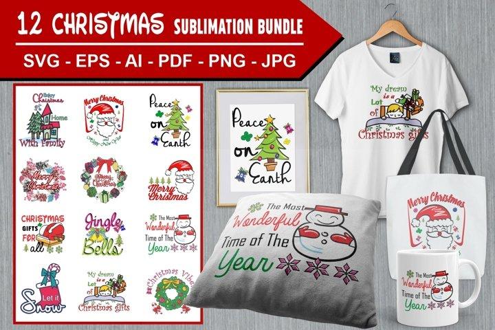 12 Christmas Sublimation Bundle Vol. 01