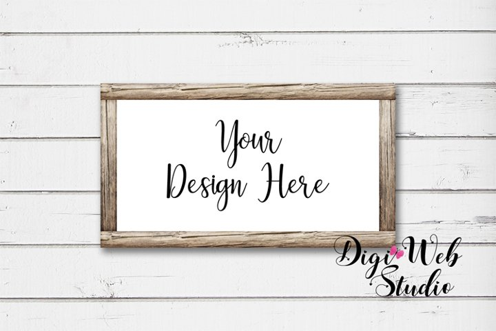 Wood Sign Mockup - Butterfly Cottage Wood Frame on Shiplap