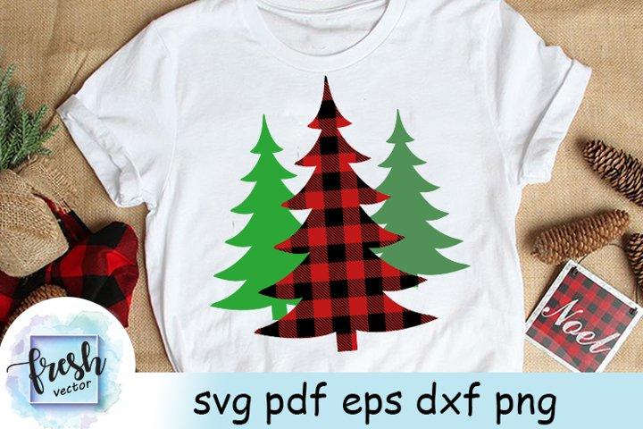 Buffalo Plaid Tree Svg Buffalo Christmas Svg