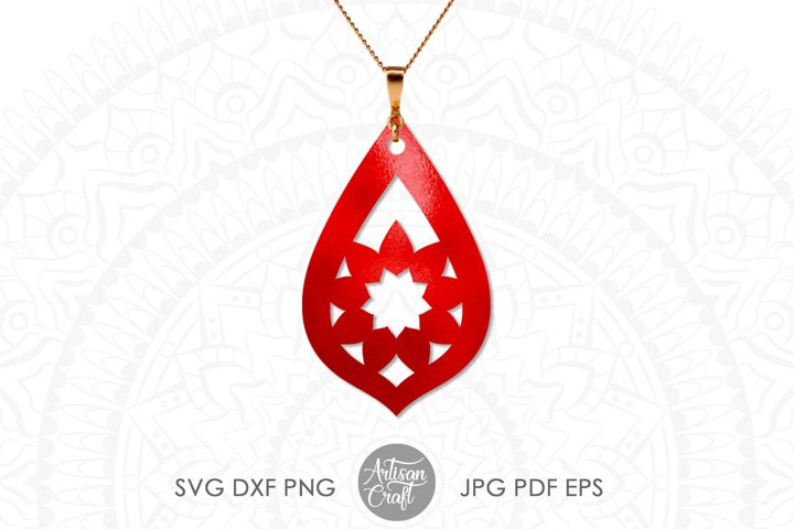 Teardrop earrings,SVG, cut file, leather earrings SVG example 1