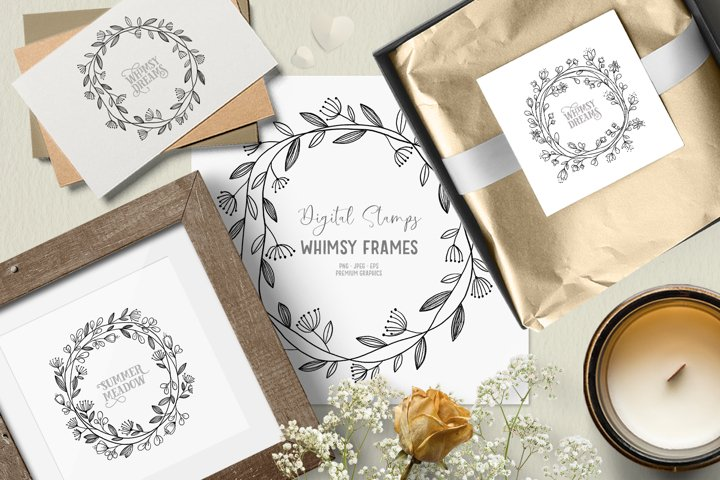 Whimsical floral wreath clipart| Floral digital stamps