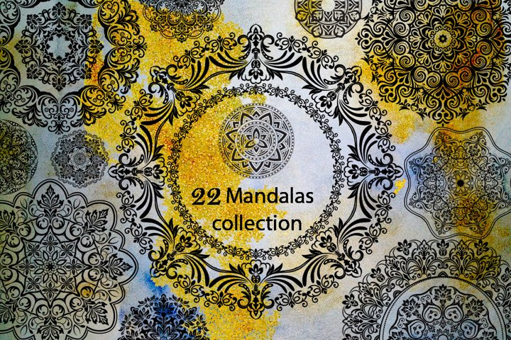 Mandalas Collection and Watercolor Backgrounds.