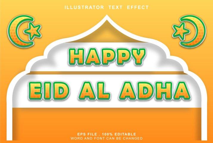 editable text effect happy eid al adha