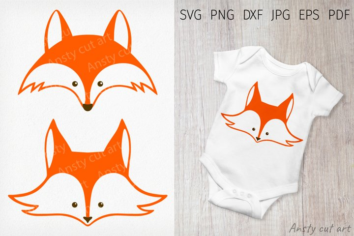 Fox Svg. Cute fox face cut file. Animal SVG, DXF, PNG, EPS.