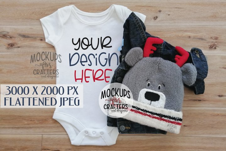 Baby outfit mock-up, winter theme