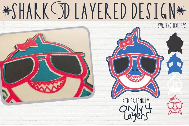 Instant Download 3D layer  Summer Shark Svg