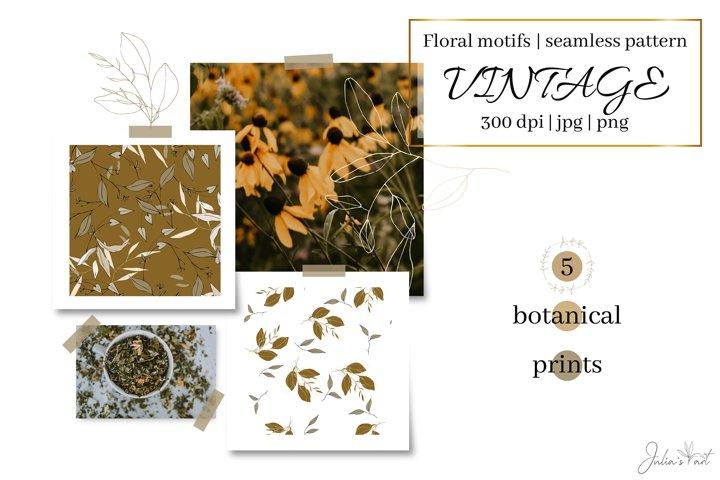 Vintage leaves - digital papers - botanical seamless pattern