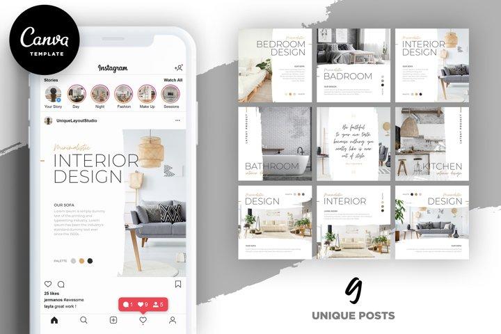 Interior Designer Instagram Posts Template   CANVA