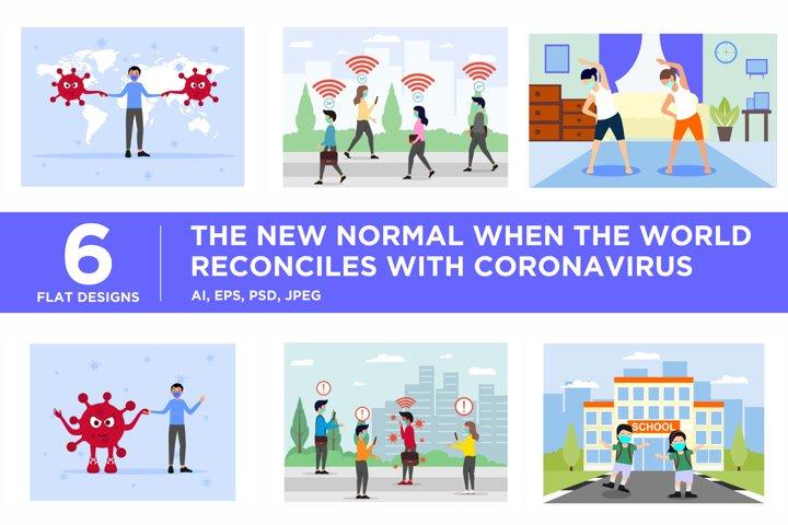 The New Normal Coronavirus Flat Illustration