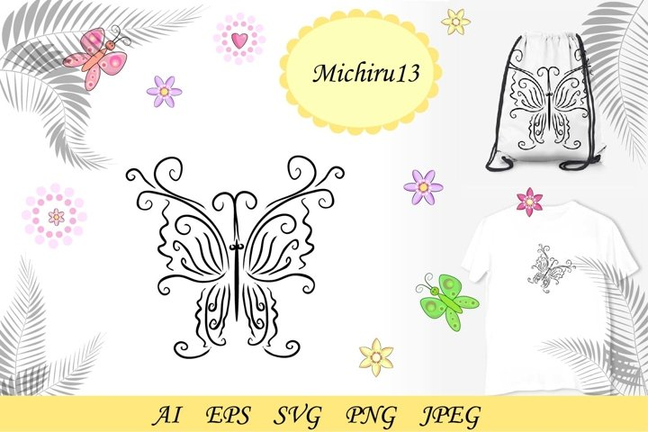 Graphic icon of butterfly. Butterfly tattoo