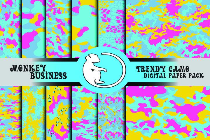Colorful digital paper pack, Fluo colors camo designs, JPG