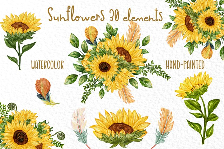 Watercolor Sunflower clipart Sunflowers Bouquets Diy invites