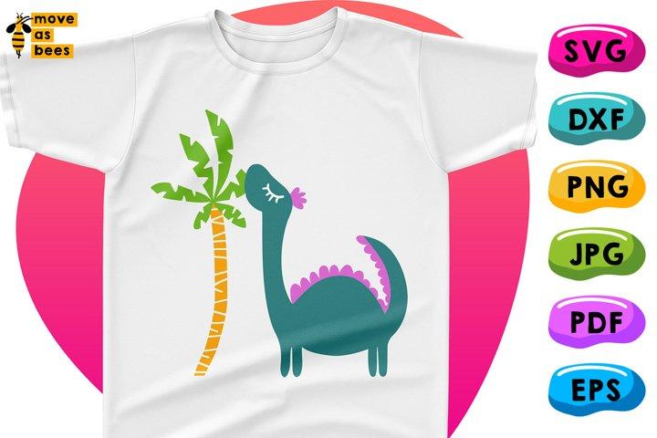 Dinosaur with Palm Svg, Dino Shirt Svg, Funny Baby, Boy Girl