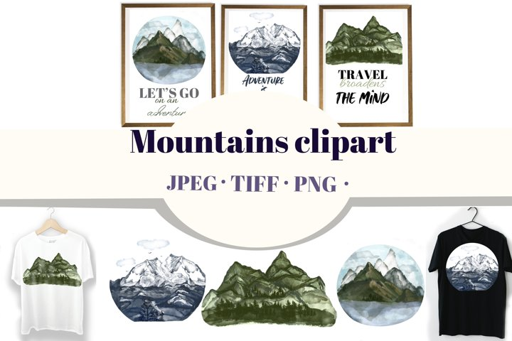 Mountains clipart and posters. T-shirt adventure designs.