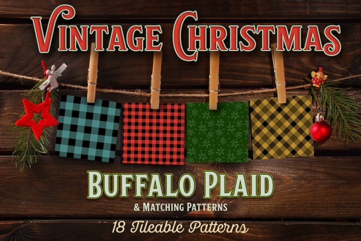 Vintage Christmas Buffalo Plaid - 18 Patterns