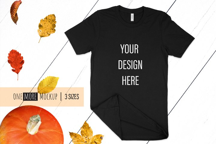 Fall T-Shirt Mockup I Bella Canvas 3001 Black Mockup