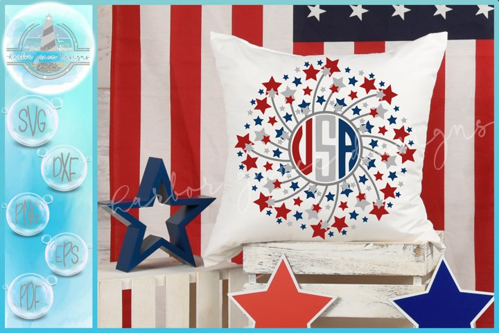 Hand Drawn Stars Fireworks USA Mandala SVG Bundle