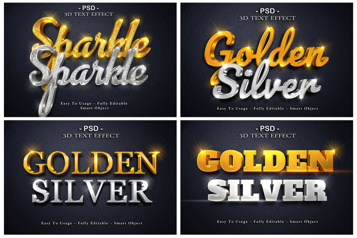 4 pack 3d golden and silver text style effect for photoshop