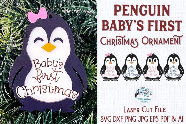 Babys First Christmas Ornament for Glowforge - Penguin