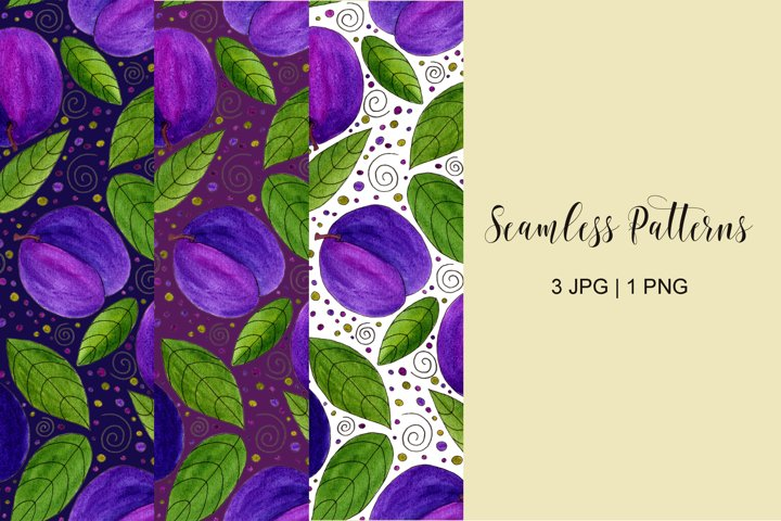 Watercolor Plums and leaves sublimation patterns