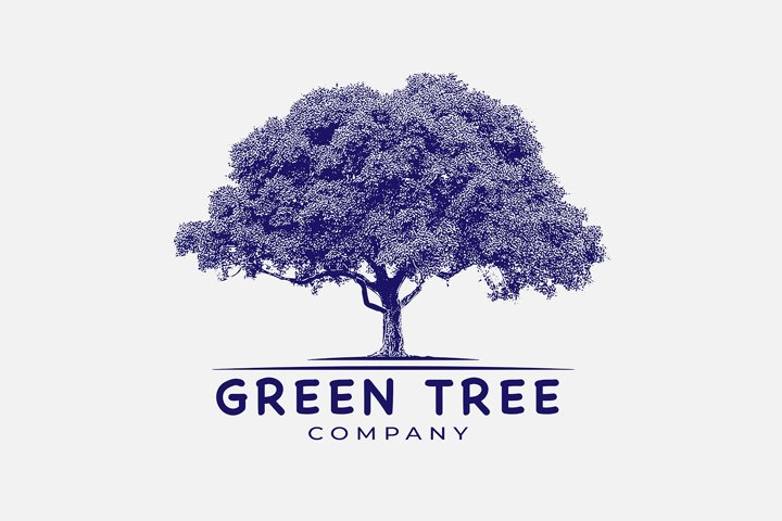 Awesome vintage logo for green tree
