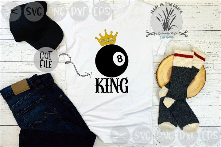 Billiard King, Crown, Eight Ball, Pool, Cut File, SVG