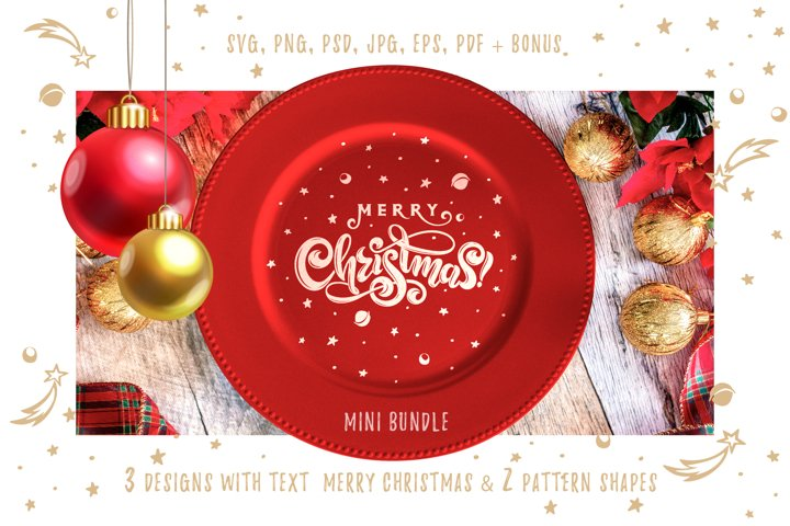 MERRY CHRISTMAS SVG text bundle. Holiday XMAS LOGO isolated.