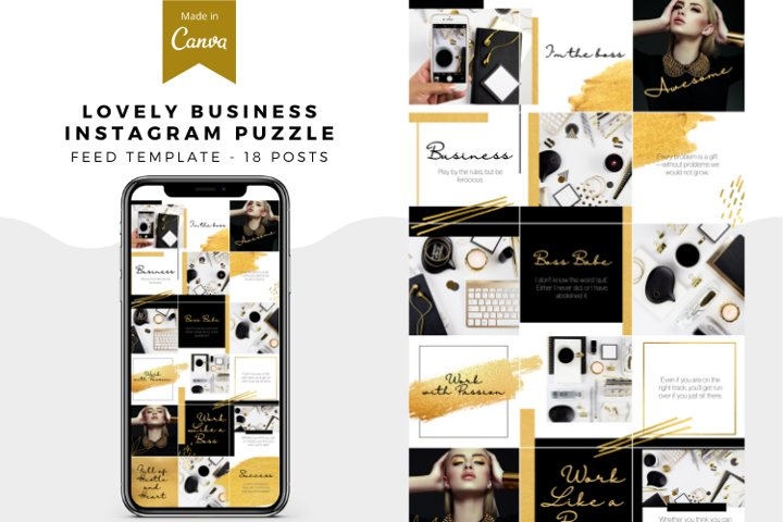 Lovely Business Canva Instagram Puzzle Feed Template