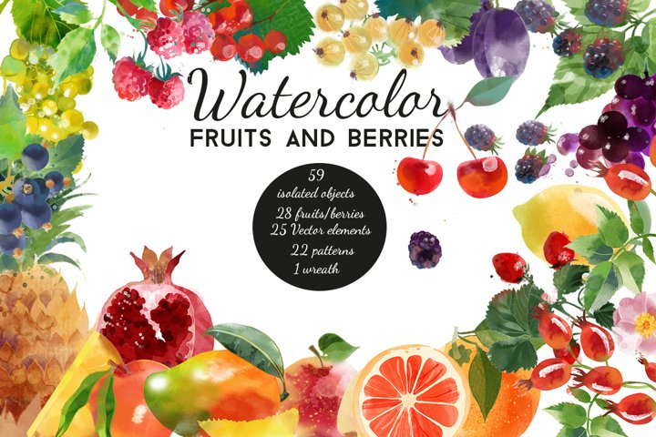 Watercolor fruits and berries