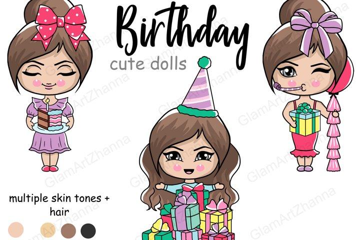 Birthday CUTE DOLLS Lady Boss Babe Digital Illustration PNG