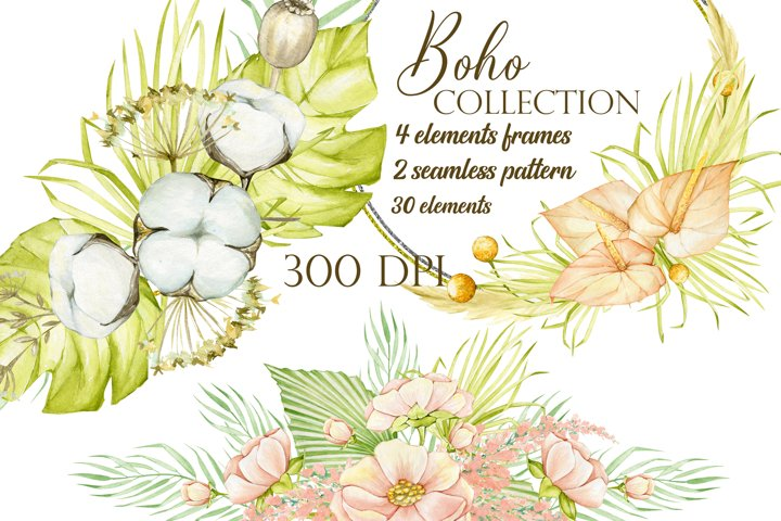 Watercolor Boho floral dried clipart, Modern Pampas grass cl