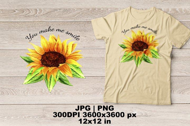 Watercolor Sunflower Sublimation Design