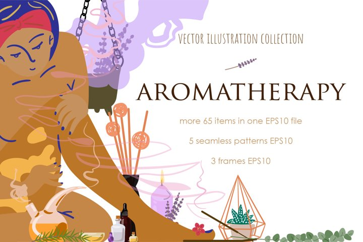 Aromatherapy. Vector cliparts.