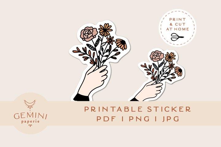Printable Sticker   Flower Bouquet Sticker for Cricut