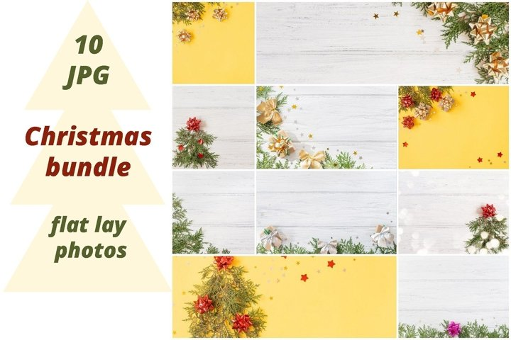 10 Christmas background, flat lay photos