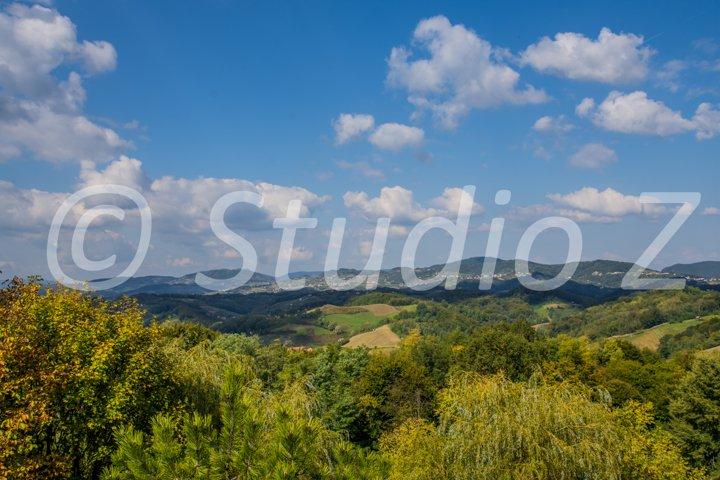Green hills & Beautiful sky landscape